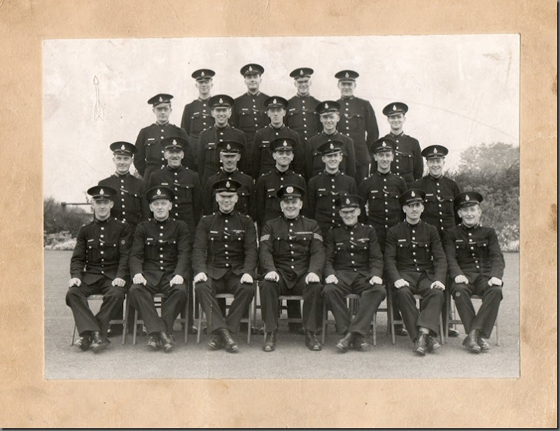 My Dad's syndicate 1949. I think Plawsworth was the Training camp.  From the top, he is extreme right, second row. To his left is PC Tom Dent, later Head of Cleveland Probation Service. Same row and second from the left is PC Jimmy Elliott.