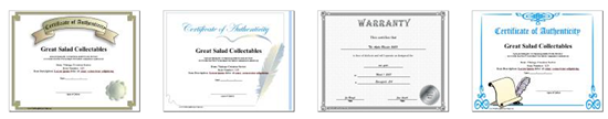 certificate of authentication templates