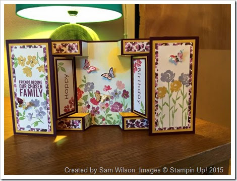 Painted Blooms Large Square Double Display card by Sam Wilson