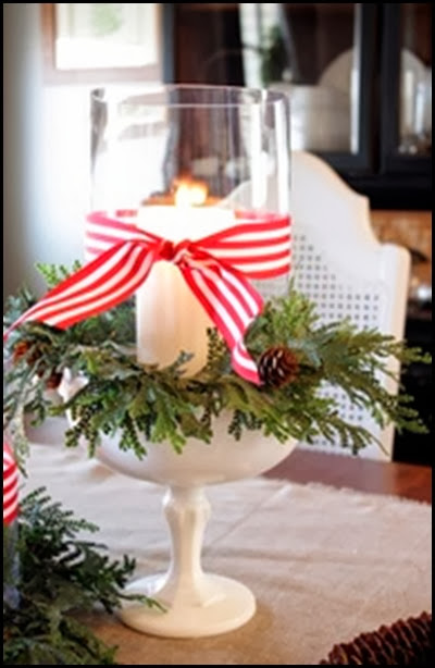 milkglass wreath and candle