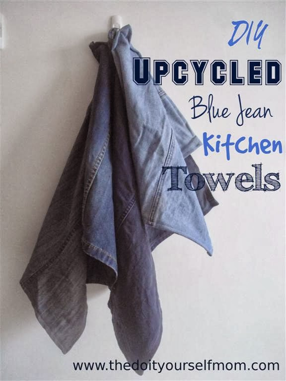 The do it yourself mom diy upcycled blue jean kitchen towels diy upcycled blue jean kitchen towels solutioingenieria Choice Image