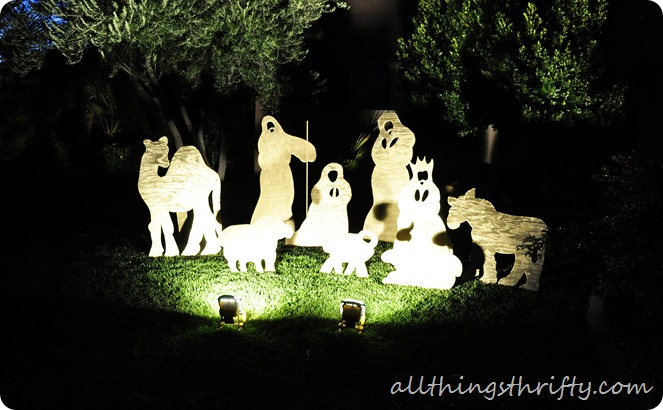 Diy christmas yard nativity set all things thrifty nativity set in the dark solutioingenieria Image collections
