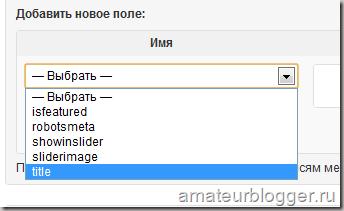 Выбор параметра в пользовательских полях