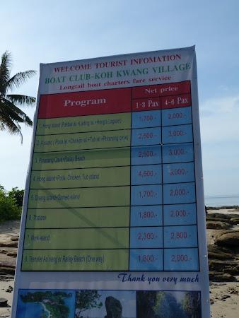 Lista de preturi excursii Krabi