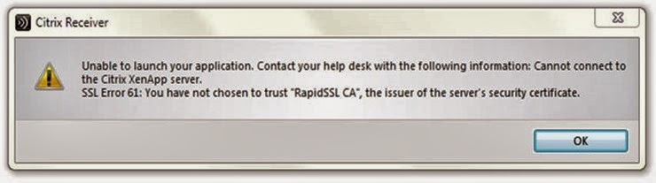 Citrix SSL Error 61 : Resolving Trust in a Security