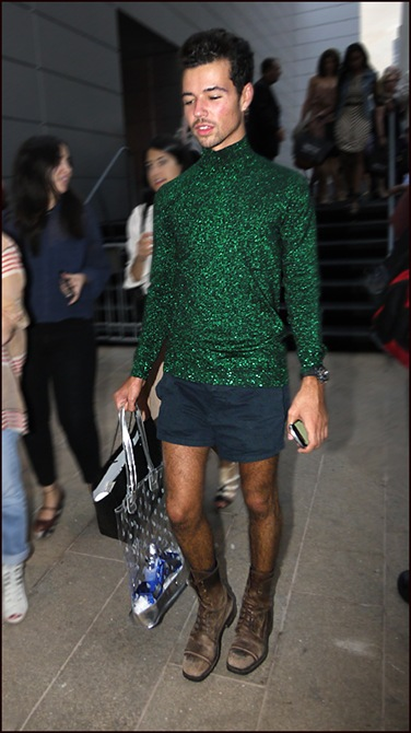 m green glitter prada shirt shorts beat up boots  ol