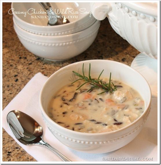 Creamy Chicken & Wild Rice Soup by Sand & Sisal
