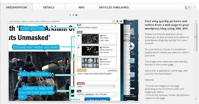 Postek : une extension Chrome pour poster facilement des vidéos ou des images sur un blog Wordpress