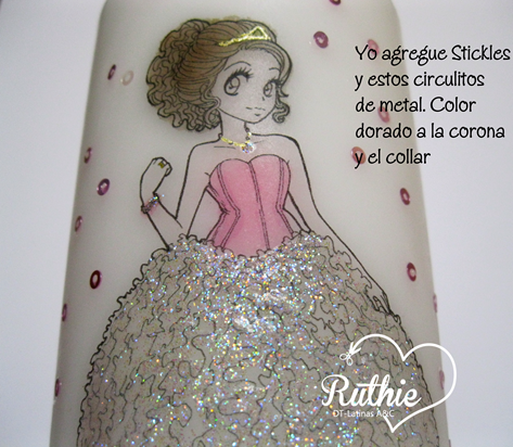 Tutorial usando una estampa digital en una vela - Digi stamp on a candle - Latinas Arts and Crafts - Ruthie Lopez DT 10