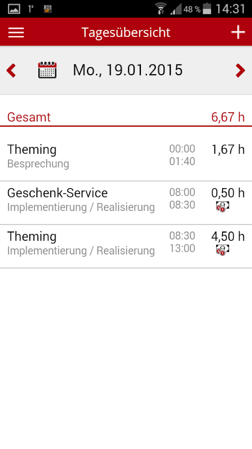 TimeNote Mobile- screenshot