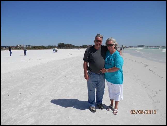 Here we are, on Siesta Key Beach, Fl.