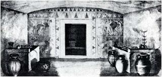 резонаторные сосуды возле каменных резонаторов, этрусская гробница Кампана