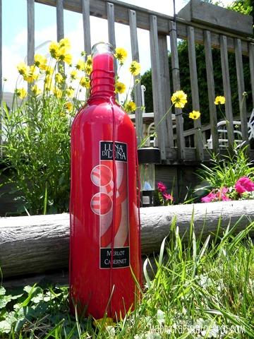 red wine bottle for hummingbird feeder
