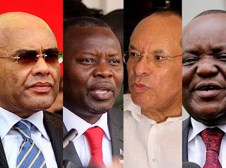De gauche à droite, Adam Bombole, Vital Kamerhe, Léon Kengo et Antipas Mbusa, candidats à l'élection présidentielle en RDC 2011. Radio Okapi/Ph. John Bompengo