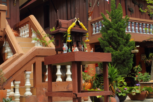 Spirit House in front of a Thai Home, Bangkok
