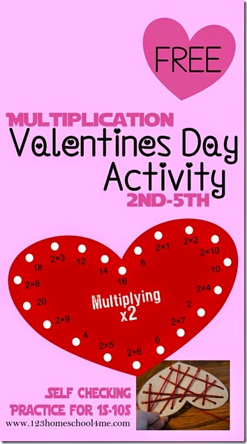 FREE Valentines Day Multiplication Game that is SELF CHECKING!! - A really fun way for kids to practice multiplication of 1s, 2s, 3s, 4s, 5s, 6s,7s, 8s, 9s, or 10s; can use with skip counting too. Great math practice for achieving math fluency! Great for 2nd grade, 3rd grade, 4th grade, 5th grade (homeschool)