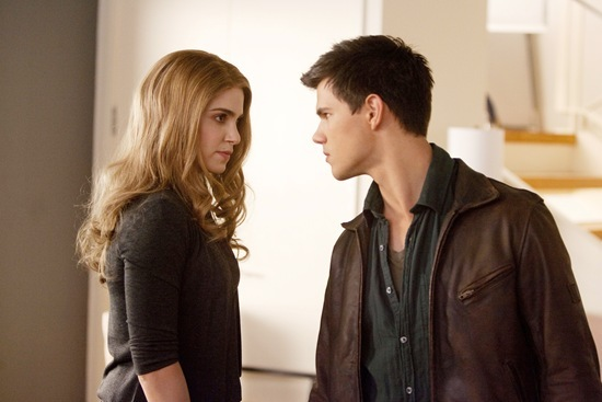 Nikki Reed is Rosalie Hale and Taylor Lautner is Jacob Black in Breaking Dawn part 1