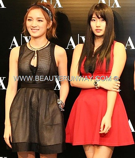 MISS A KPOP SUzy Jia Fei Min concert 2013 AX ARMANI EXCHANGE Spring Summer Black mesh dress leather shoes boots  red halter neck skater dress denim jeans accessories watches MNET breathe South Korean girl band group singers actress