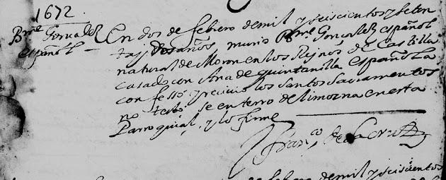 Bartholome Gonzalez, FamilySearch, Monterrey, Death 1672 Pg. 42.jpg