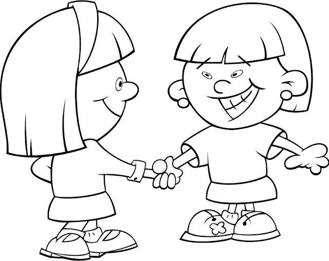 Los Niños Y La Amistad Para Colorear