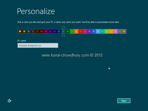 Win 8 Installation Experience - Personalize Color 1