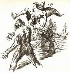 Sole illustration by Fax accompanying the original publication in Astounding of short story Interlude by Ross Rocklynne. Image shows the Neanderthal cavemen, transported from his time 100000 years ago into 25th century,physically throwing away the dictator this advanced era.