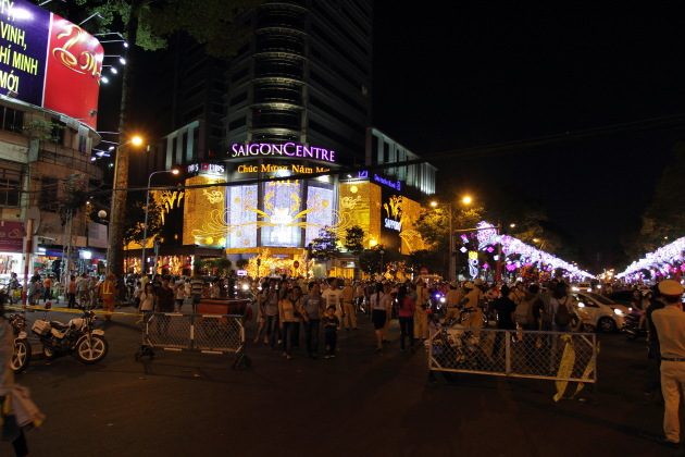 Every building decked up for the New Year 2013 in Vietnam