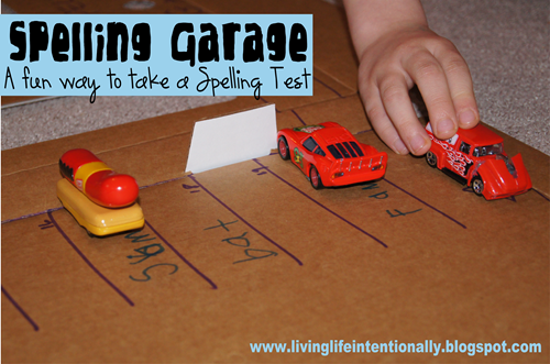Spelling Games - practice spelling words with hot wheel cars