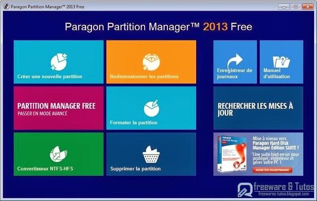 Paragon Partition Manager 2013 Free : un logiciel gratuit de partitionnement de disques durs