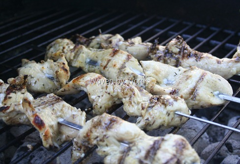 Grilling chicken on the grill
