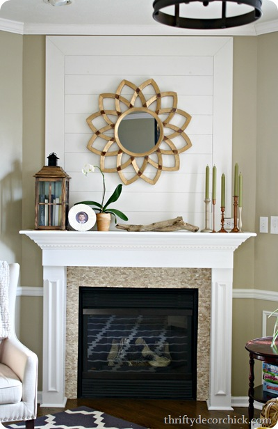 wood plank wall above fireplace