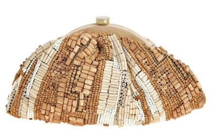 Wood Bead Clutch by Santi at Calypso St. Barth