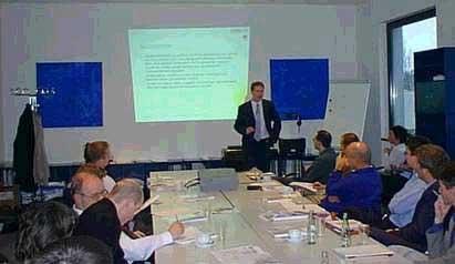 v.l.n.r.: Dirk Michels (Kirkpatrick & Lockhardt), Steve Riedel, Peggy Hack, International Delegation Comittee BIO 2001, Dr. Marquardt, Dechema