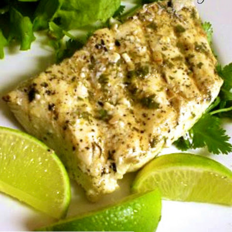Recipe for Grilled Halibut with Garlic Cilantro Sauce Recept | Yummly
