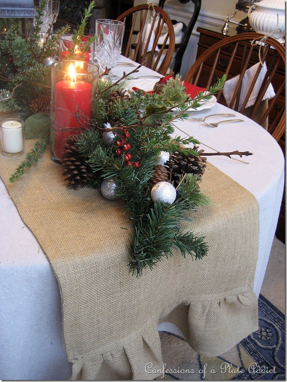 On The Table A Drop Cloth Tablecloth Topped With My Versatile Ruffled Burlap Runner Lend Themselves To Rustic Look Of Tablescape