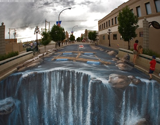 The Waterfall 3d pavement art
