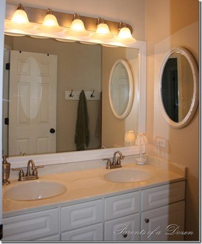 Parents of a dozen how to frame a bathroom mirror - How to frame an existing bathroom mirror ...