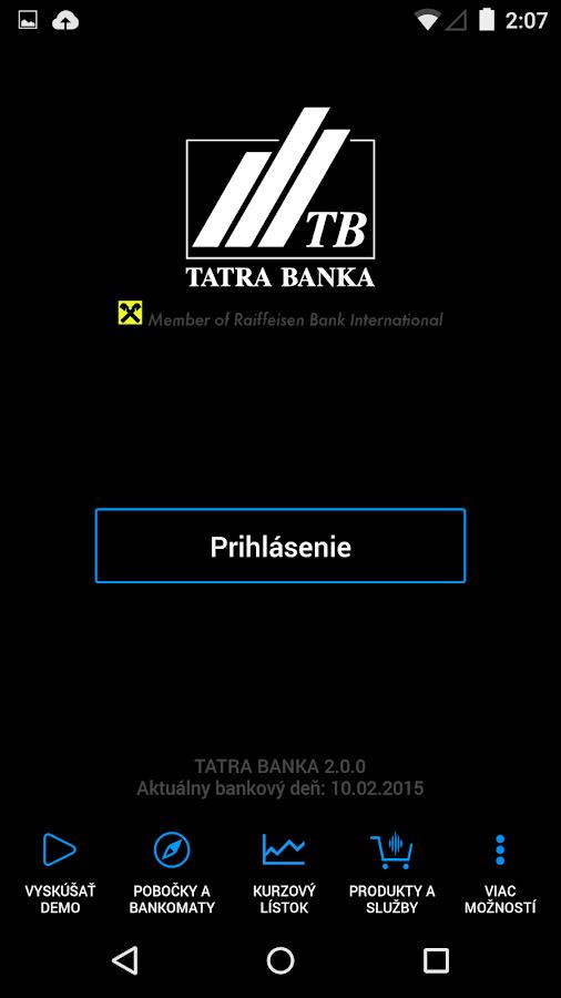 Tatra banka - screenshot