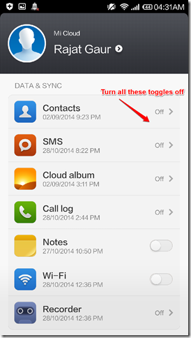 How To Turn Off Mi Cloud Services