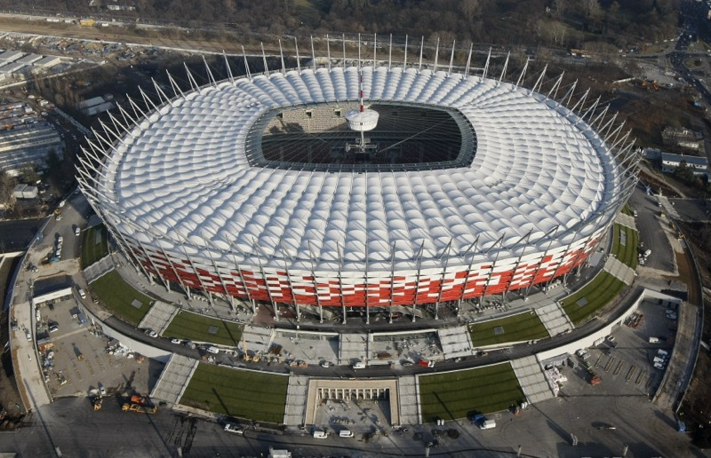 198691 an aerial view of polands national stadium