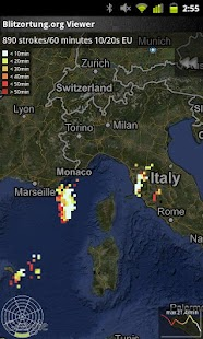 Blitzortung Gewitter-Monitor Screenshot