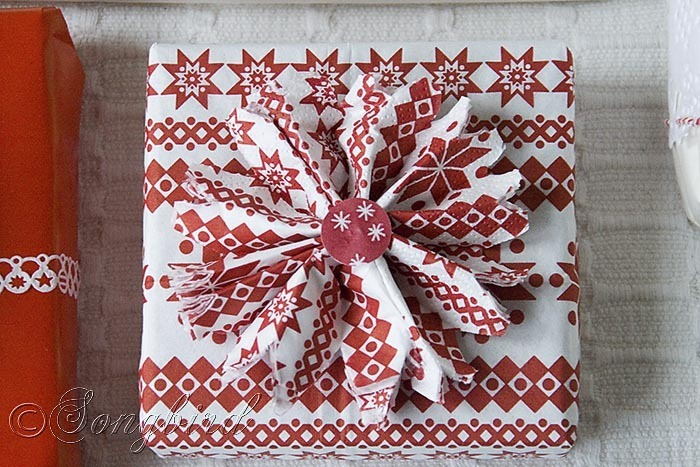 Songbird Christmas White Red Gift Wrapping 9