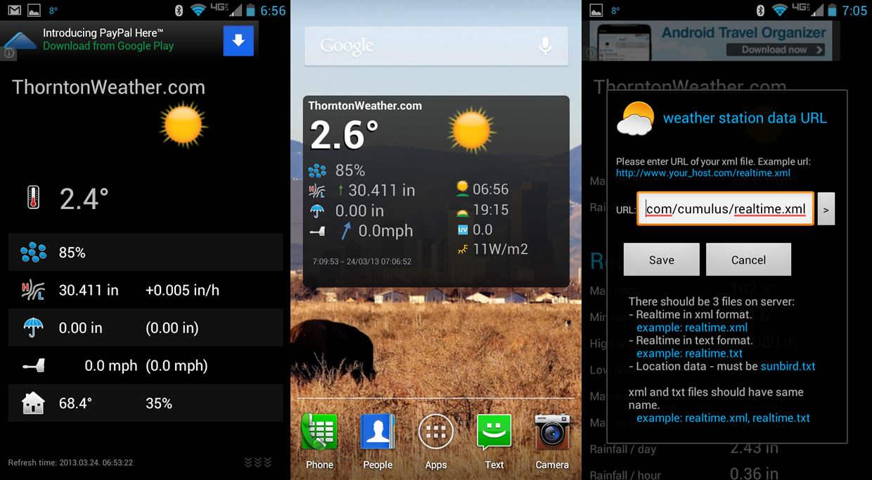 Basic Android weather apps and widgets for displaying