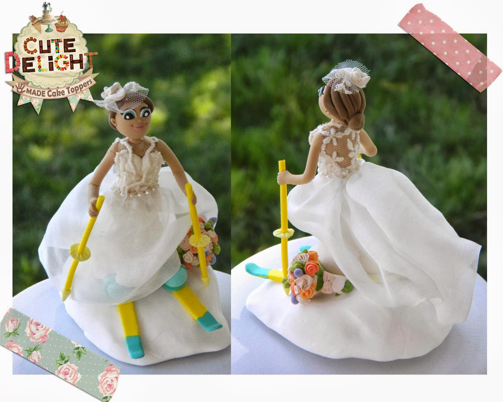 Wedding Cake Topper Custom Made Skiing Bride Sliding Down To The Groom In Car With Poker Chips