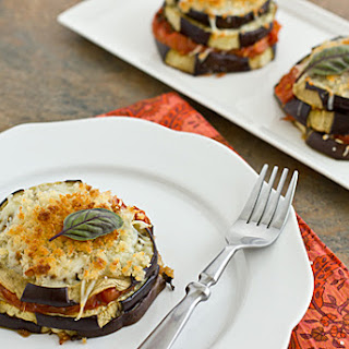 Lightened-Up Eggplant Parmesan Stacks.