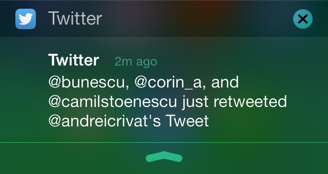 Twitter iOS recommendations via push notification