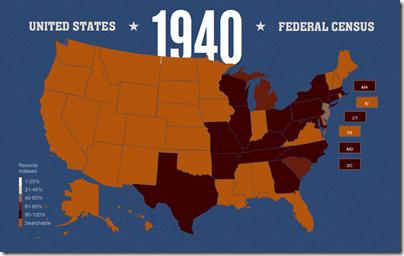 Fumanysearch. 1940年7月26日的人口普查索引状态地图