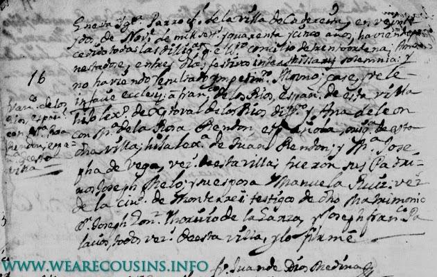 Francisco Rios and Maria de la Rosa Rendon, Cadereyta, San Juan BautistaMatrimonios 1710-1795, 1822-1828, Pg 74.JPG