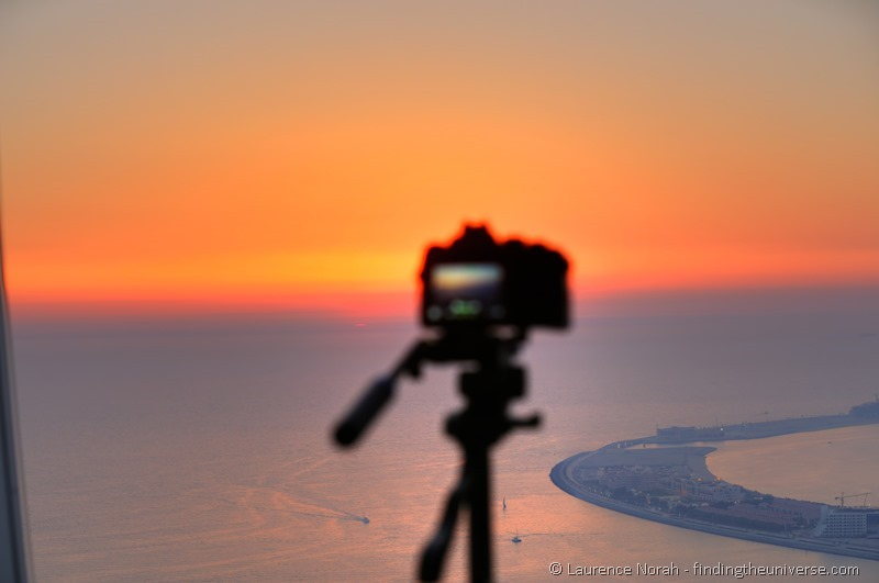 camera at sunset