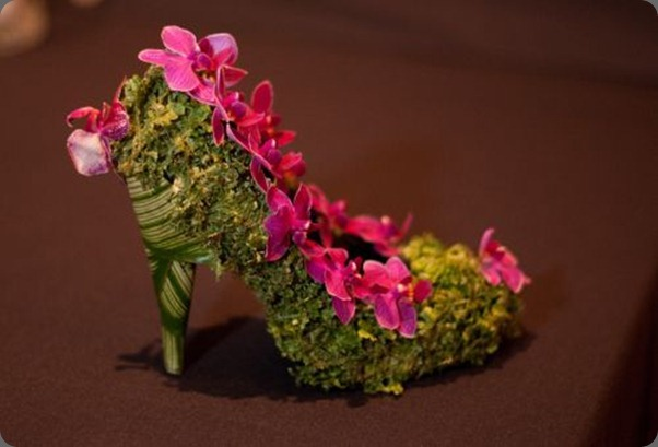 fran botanical-shoe-with-moss-and-fushia-orchids-Françoise-Weeks